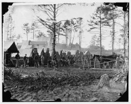Civil War camp by creekside