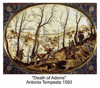 The Death of Adonis by Antonia Tempesta 1593