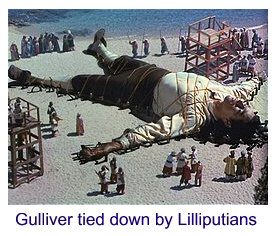 Gulliver tied down by Lilliputians