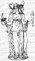 Statue of Hecate facing three directions
