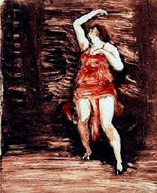 Painting of Isadora Duncan in red by John Sloan