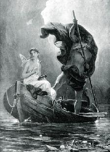 Charon ferrying Psyche over the  		River Styx