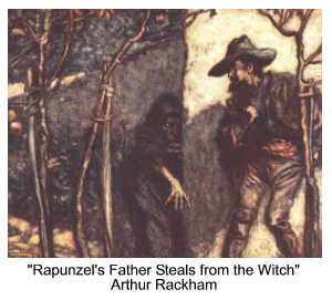 Rapunzel's father steals from the witch as depicted by Arthur Rackham